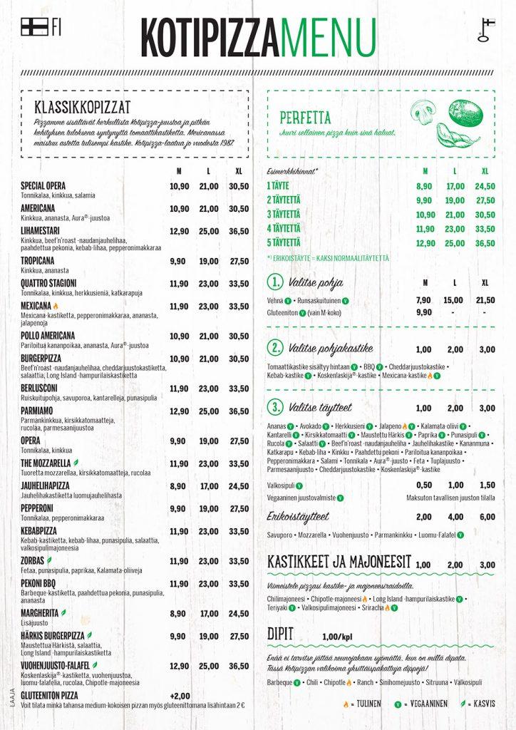 Kotipizza menu sivu 1
